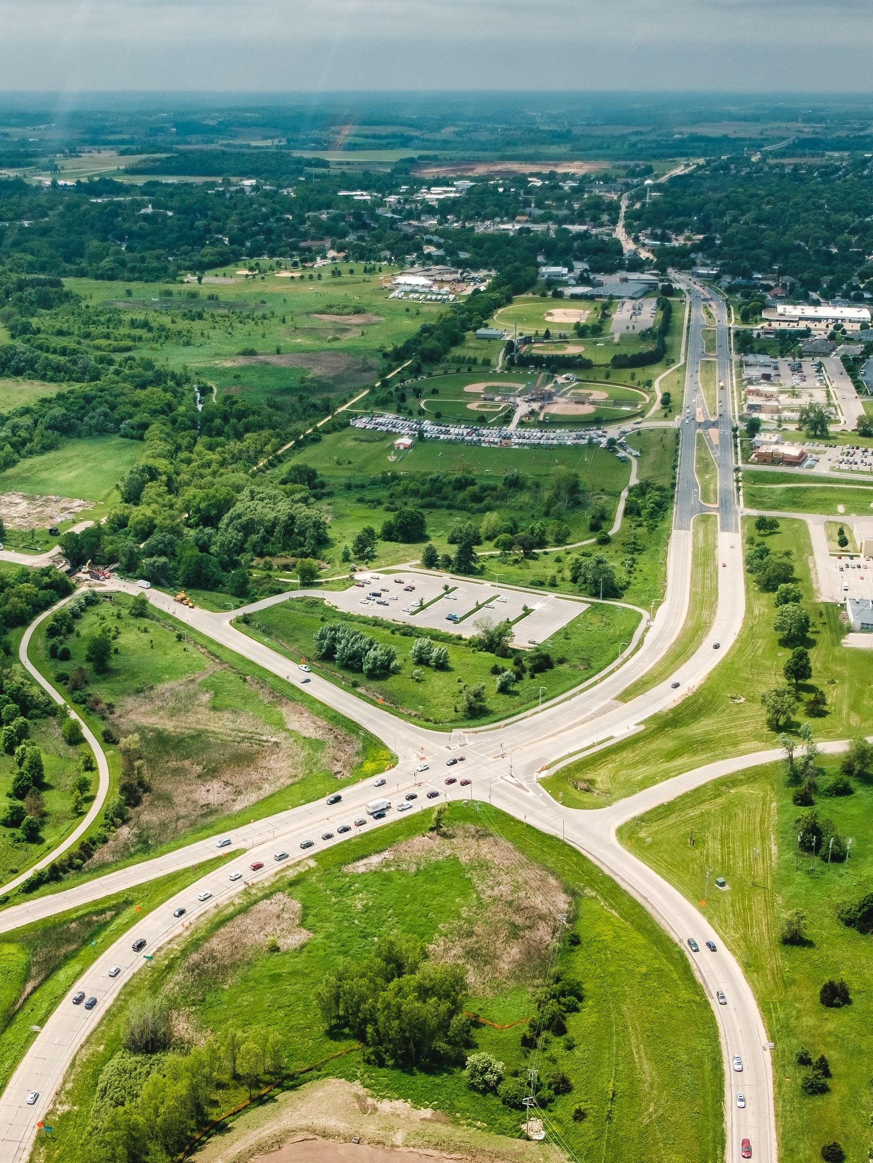 Aerial image of US Hwy 151, Verona Ave, Military Ridge State Trail and the park-n-ride.