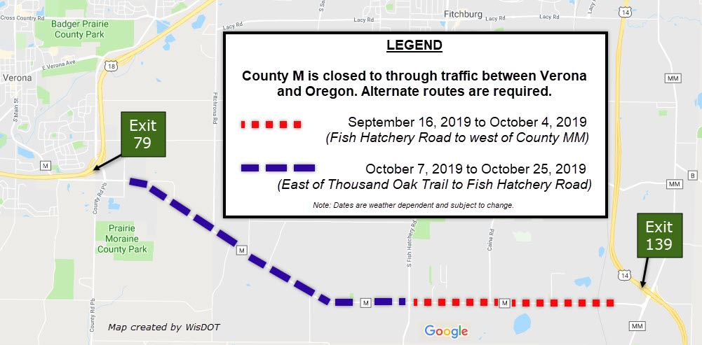 County M resurfacing map - Sept-Oct 2019